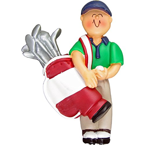 Personalized Golfer Boy Christmas Tree Ornament 2019 - Man Golf Player Holds Red Bag of Clubs Ball with Cap Profession Member Hobby Caddy Amateurs - Free Customization (Male)