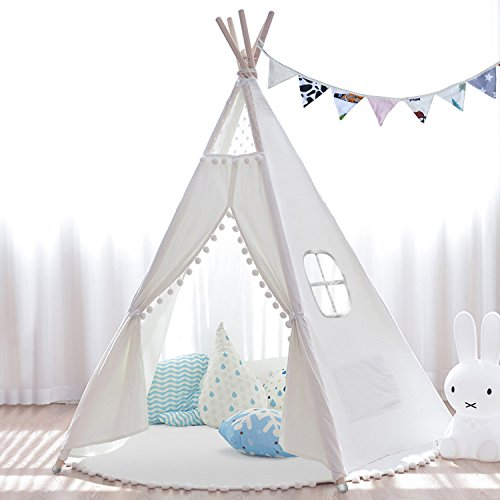 Kids Teepee Tent 6' Indoor Outdoor Children Indian Play Tent 5 Wooden Poles Canvas Tipi with Cotton Mat, Carry Bag, Decorations Star Stickers & Flag By JOYNOTE (White)