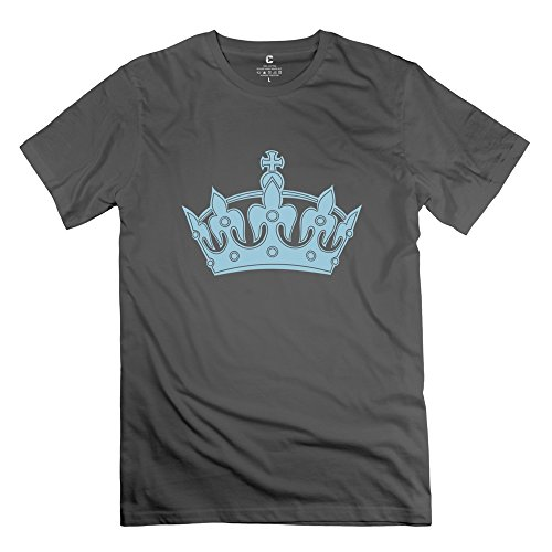 Serlina Men's Keep Calm Crown Cotton O Neck Short Sleeve T-Shirt Tee DeepHeather M