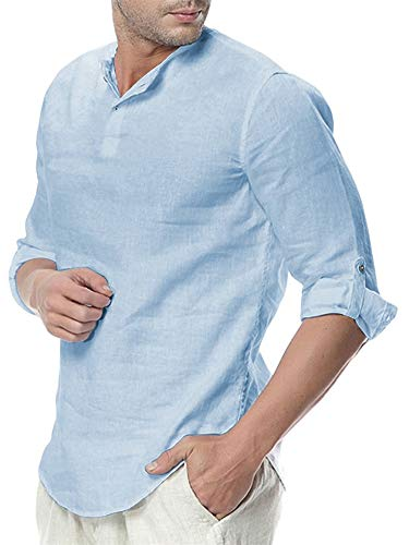 Makkrom Mens Linen Henley Shirts Short Sleeve Loose Casual Summer Solid T Shirts