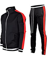 LeerKing Men's Tracksuit Activewear Athletic Joggers Sports Set Full Zip Sweat Suit for Youth Teens