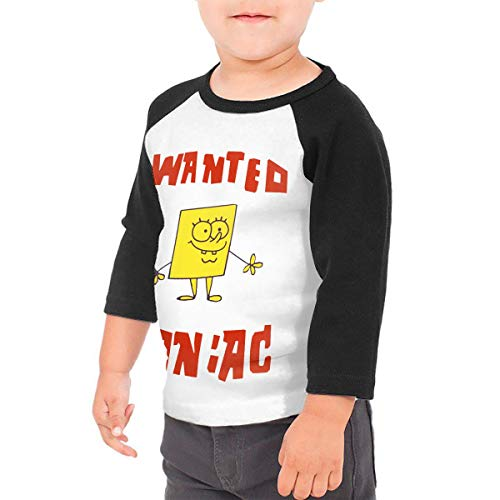 Spongebob Squarepants Unisex 100% Cotton Children's 3/4 Sleeves T-Shirt Top Tees 2T~5/6T 3T Black]()