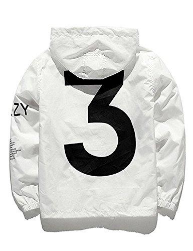 (Adult Waterproof Letter Print Jacket Hip-Pop Long Sleeve Anti-Sun Hoodie Streetwear White)
