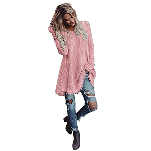d675a5a22615b Moonuy Décontractée Col Rond Manches Longues Coutures Knitwear Pull en  Tricot Tops Pullover Sweater Chandail Élégant. Moonuy  manteau feminin