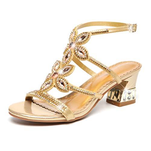 40 gold Sexy Sandali Flash Con Diamanti Da Strass Moda Cristalli Donna Femminili Tacco Gold Antiscivolo Joker Alto Alto Estivi wCTapwr7xq