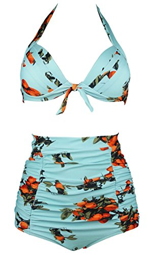 Cocoship Turquoise & Orange Tangerine Fruit Vintage High Waisted Bikini Ruched Swimsuits Two Piece Swimwear XXXL(FBA)