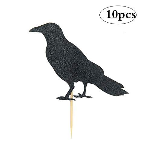 JANOU Black Crow Cupcake Toppers Raven Cake Topper Picks for Halloween Christmas Party Decoration Pack 10pcs