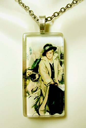 (Bulldog charming her at the pound glass pendant - DGP02-402 - Harrison Fisher)