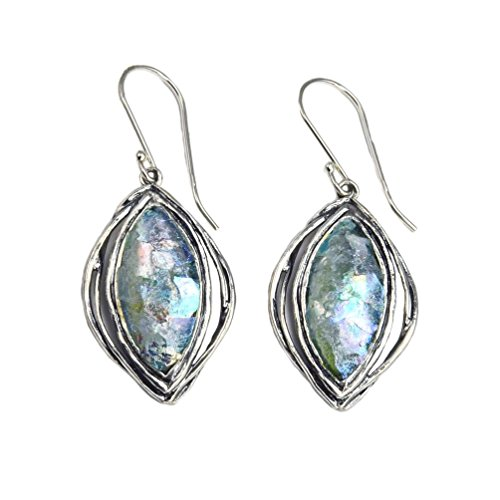 Ancient Roman Glass Earrings Marquise Drop Sterling Silver