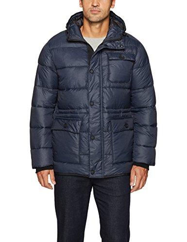 Hawke & Co Men's Hooded Puffer Field Jacket, Slate Blue, Medium
