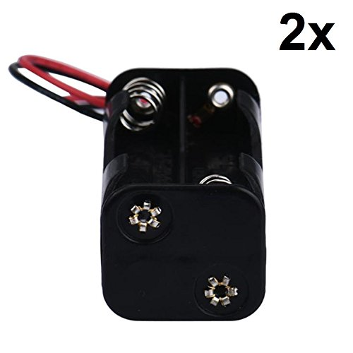 2X 4-AA Battery Spring Clip Holder Case Plastic Box Tow Layers Stacked 6VDC