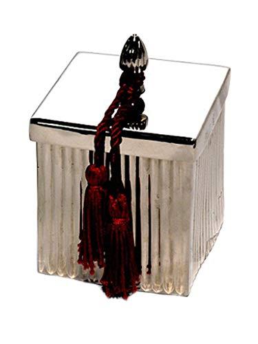 Caixa Quadrada Metal E Pingente Com Vela Lavanda Sarquis Samara Prata
