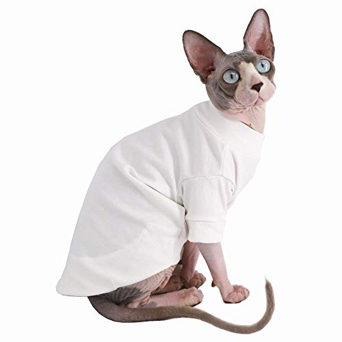 Sphynx Hairless Cat Cotton Tshirts Pet Clothes, Pullover Kitten T-Shirts with Sleeves, Cats & Small Dogs Apparel Solid…