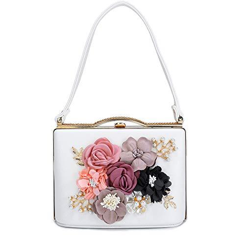 Evening Clutch Bags Pearl Beaded Evening Handbag For Prom Bride Wedding (White8803) ()