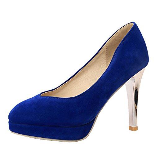 MissSaSa Damen high heel Pumps geschlossen Plateau Bankett Schuhe Blau
