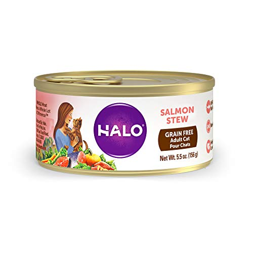 Halo Grain Free Natural Wet Cat Food, Salmon Recipe, 5.5-Ounce Can (Pack Of 12)