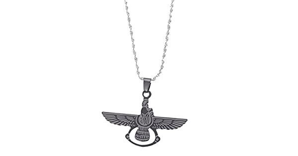 Amazon.com: Persa zoroastrianism Farvahar colgante de acero ...