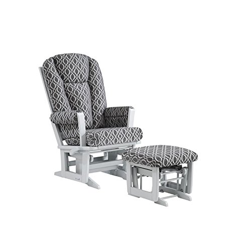 Dutailier Modern Glider-Multi-Position Recline and Nursing Ottoman Combo, Grey/Charcoal (Nursery Multi Position Wood Glider)