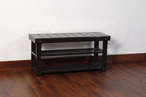 espresso finish 2 tier solid wood storage shoe bench shelf new ebay. Black Bedroom Furniture Sets. Home Design Ideas