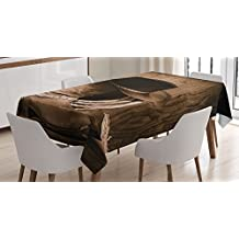 Western Decor Tablecloth by Ambesonne, Wild West Themed Cowboy Hat and Old Ranching Rope On Wooden Display Rodeo Style, Dining Room Kitchen Rectangular Table Cover, 60W X 84L Inches, Brown