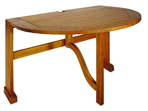 Blue Star Group Terrace Mates Bistro Half Oval Table, Natural Wood Stain