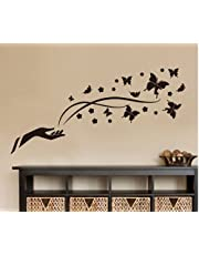 Home Decoration Removable Wallpaper Mural Black Butterfly Flower Wall Stickers Decal