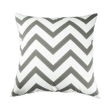 TAOSON Chevron Cushion Cover Pillow Cover Pillowcase Zig Zag Cotton Canvas Pillow Sofa Throw White Printed Linenwith Hidden Zipper Closure Only Cover No Insert 25x 25 Inch 65x65cm Dark Grey/Gary