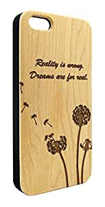 Genuine Maple Wood Organic Dandelion Flower Dreams Quote Snap-On Cover Hard Case for iPhone 4/4S