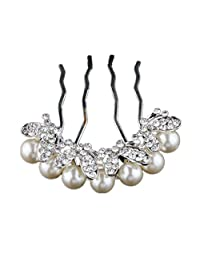 Bridal Hair Pieces Tiara Hair Pins Women's Crystal Rhinestones Pearls Decor Flower Style Hair Comb Clip