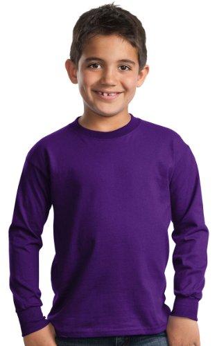Long T-shirts Blank Sleeve (Port & Company - Youth Long Sleeve Essential T-Shirt S Purple)