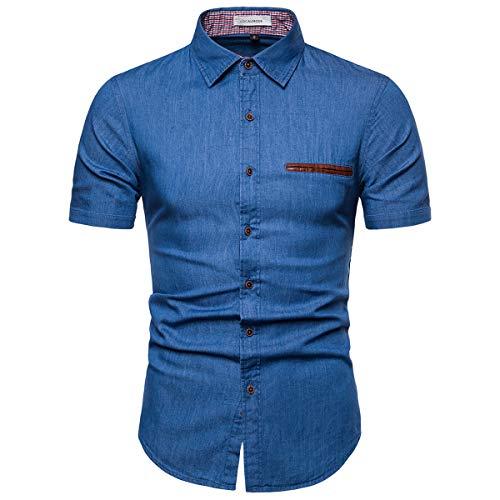LOCALMODE Men's Casual Jeans Shirt Short Sleeve Button Down Dress Shirt Light Blue (Life Denim Shirt)