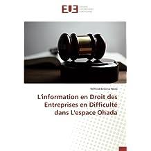 L'information en Droit des Entreprises en Difficulté dans L'espace Ohada
