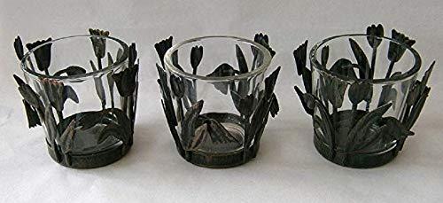 Yankee Candle Set of 3 Tea Light Glass Holders Metal Tulip