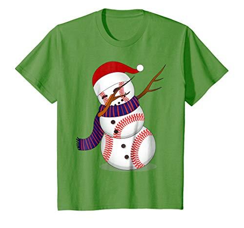 Kids Dabbing Snowman Christmas Shirt | Funny Baseball Dab T-Shirt 10 Grass -