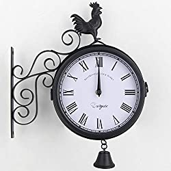 Double Sided Wall Clock Paddington Station Clock with Waterproof Cover Vintage Antique Look Wall Mounted for Indoor&Garden Hanging Décor Premium Metal Materials Black 30379CM