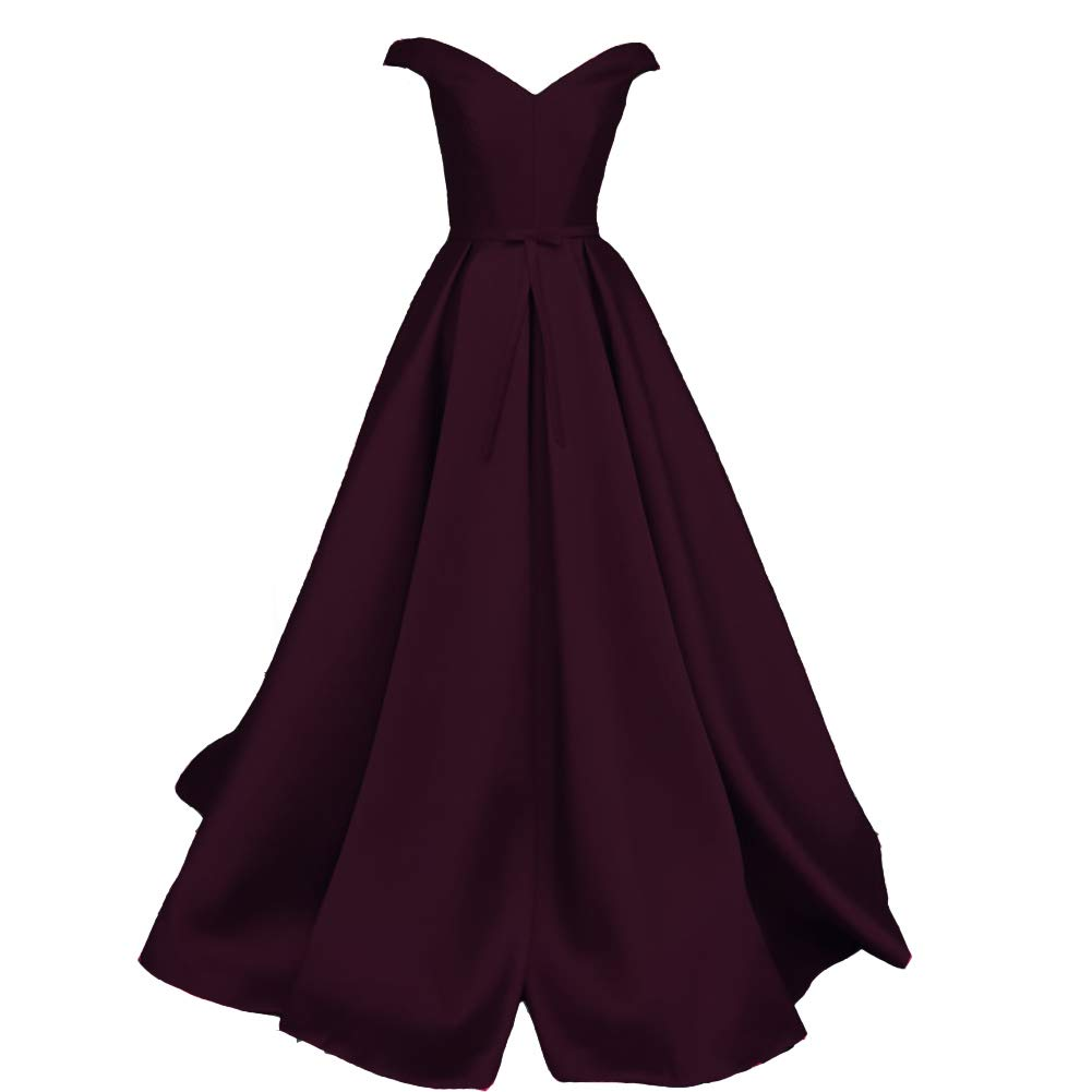 Dark Plum Kivary V Neck Off The Shoulder Satin Long A Line Formal Evening Gown Prom Dress