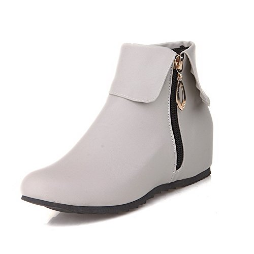 Gray Solid Zipper Closed Toe Kitten Women's PU Round Heels Boots AmoonyFashion Ov4qw4