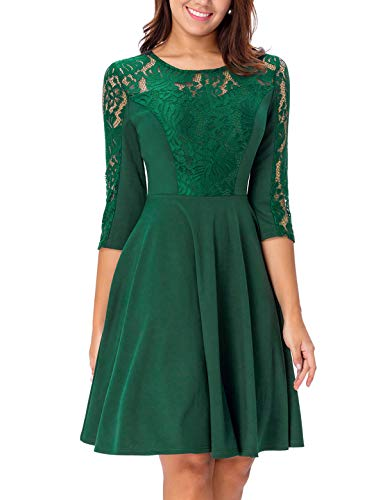Noctflos Women's Emerald Green Lace A-Line Cocktail Dress with Sleeve for Wedding Guest