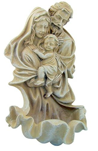 Resin Saint Joseph Mary with Jesus Christ Figurine Holy Water Font, 8 Inch