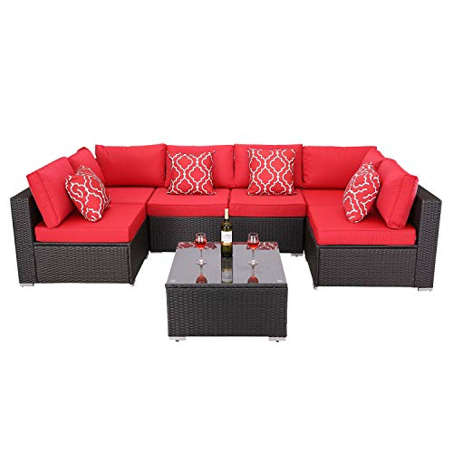 Do4U Patio Sofa 7-Piece Set Outdoor Furniture Sectional All-Weather Wicker Rattan Sofa Seat & Back Cushions, Garden Lawn Pool Backyard Outdoor Sofa Wicker Conversation Set (Red)