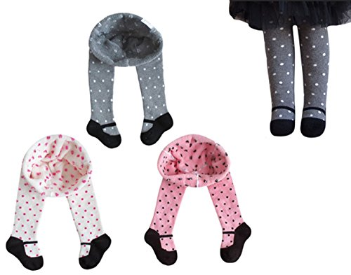 TAIYCYXGAN Baby Girls Mary Jane Tights Infant Leggings Stocking Panties Winter 3-Pack Thick 6-12 Months