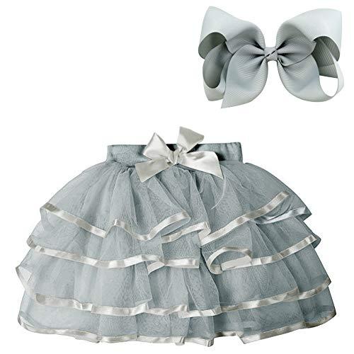 BGFKS 4 Layered Tulle Tutu Skirt for Girls with Hairbow or Birthday Sash,Girl Ballet Tutu Skirt (Gray, 7-10 Years)]()