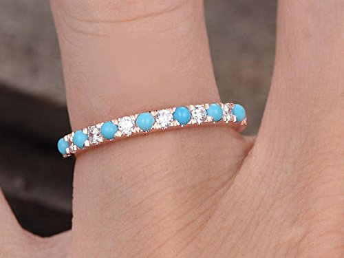 Turquoise Wedding Band Round CZ 925 Sterling Silver Rose Gold Plated Bridal Stacking Ring Stackable by Milejewel Wedding Band (Image #5)