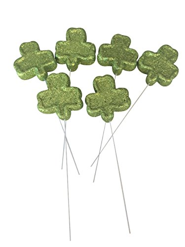 (Foam Glitter Green Shamrocks Flower Picks, Set of 6)