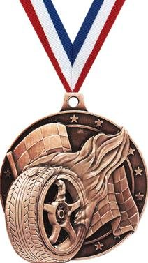 Racing Tire Medal – ブロンズCar Race Award Medals withネックリボン B07FP39PPK  50