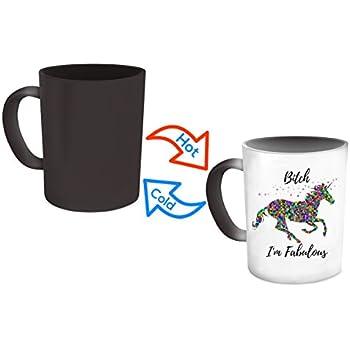 Unicorn Mug - Bitch I'm Fabulous - Magical Color Changing Heat Sensitive Mug For Coffee Lovers - Funny Unique Novelty Gag Gift