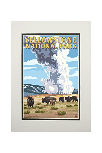 Yellowstone National Park, Wyoming - Old Faithful Geyser and Bison Herd (11x14 Double-Matted Art Print, Wall Decor Ready to Frame)