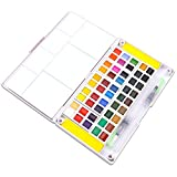 Sunshilor Watercolor Paint Set - 48 Assorted Watercolors Travel Watercolor Kit Includes 2 Water Brushes, 2 Sponges and 1 Mixing Palette, Field Sketch Set