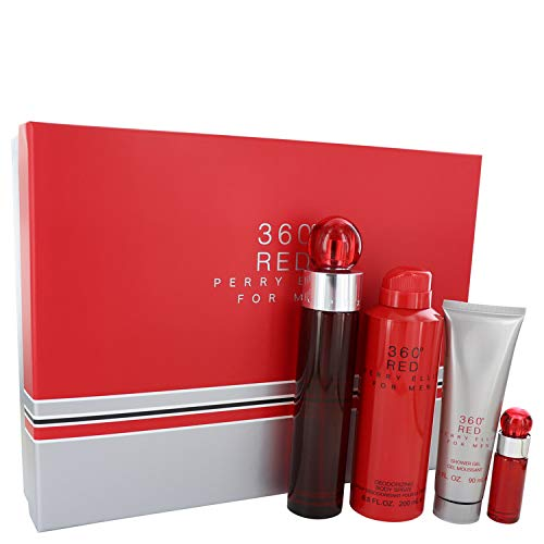 Përry Ellïs 360 Red Cologne For Men Gift Set - 3.4 oz Eau De Toilette Spray + .25 oz Mini EDT Spray + 6.8 oz Body Spray + 3 oz Shower Gel