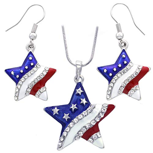 Soulbreezecollection USA American Flag Stars Patriotic 4th of July Independence Day Pendant Necklace & Dangle Earrings -